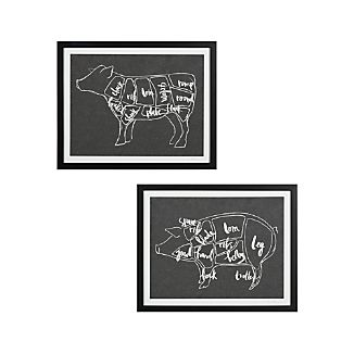 Beef and Pork Chart Prints Set of Two