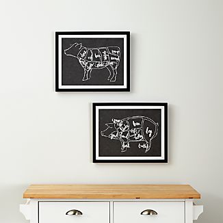Set of 2 Beef and Pork Chart Prints