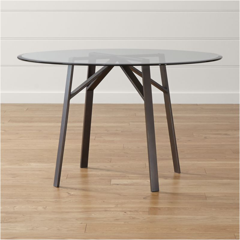 "Belden Round Dining Table with 48"" Glass Top"