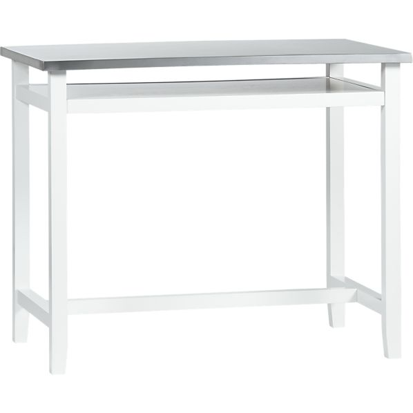 Belmont White Work Table with Stainless Steel Top
