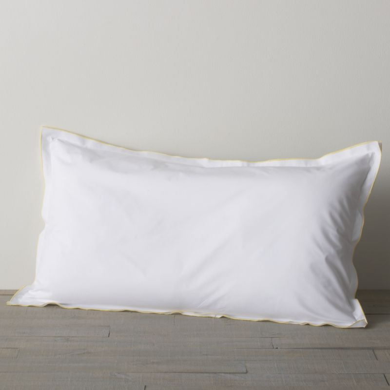 "Clean, basic white bedding upgrade in soft, smooth cotton percale, beautifully contrasted with a graceful yellow overlocking stitch. Pillow sham has 1"" double-flange and generous overlapping closure.<br /><br /><NEWTAG/><ul><li>100% cotton percale</li><li>200-thread-count</li><li>Machine wash; tumble dry low</li><li>Made in Portugal</li></ul>"