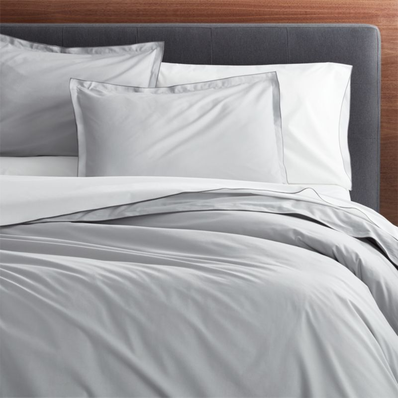 Belo Grey Full Queen Duvet Cover Crate And Barrel