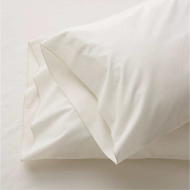Set of 2 Belo Ivory King Pillow Cases Crate and Barrel