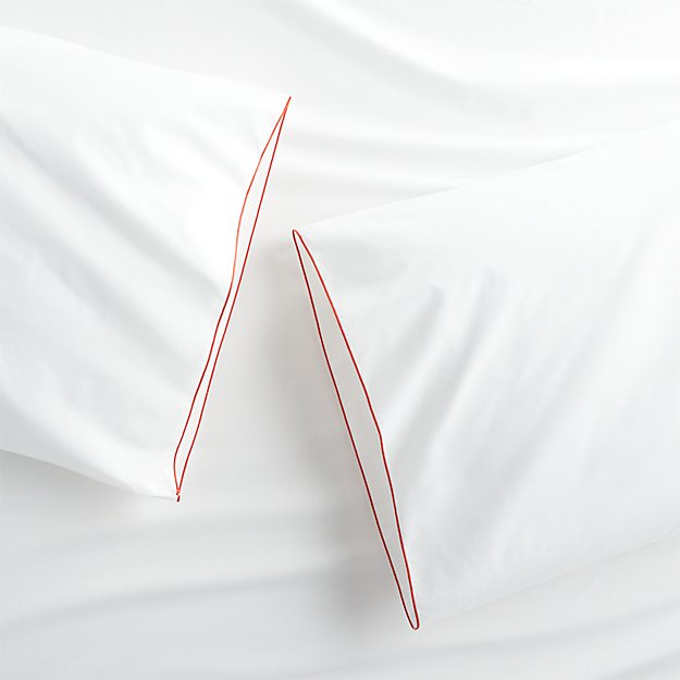 Set of two Belo Red King Pillow Cases