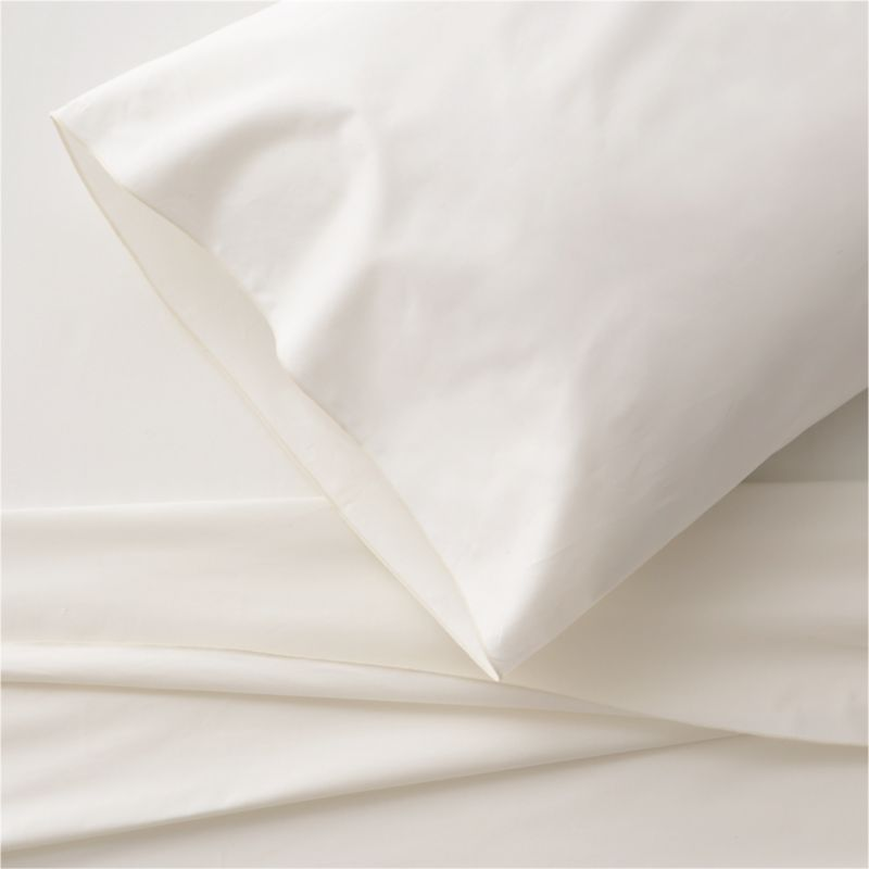 Clean, basic white bedding upgrades in soft, smooth cotton percale, beautifully contrasted with a graceful ivory overlocking stitch on the flat sheet and pillow case. Generous fitted sheet pockets accommodate thicker mattresses. Sheet set includes one flat sheet, one fitted sheet and one standard pillow case. Bed pillows also available.<br /><br /><NEWTAG/><ul><li>100% cotton percale</li><li>200-thread-count</li><li>Machine wash; tumble dry low</li><li>Made in Portugal</li></ul>