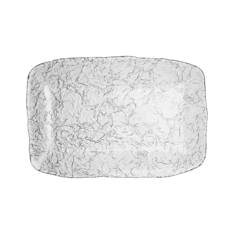 Organic shape and texture reminiscent of ice sculpture makes this Italian-crafted platter a cool serving alternative.<br /><br /><NEWTAG/><ul><li>Glass</li><li>Dishwasher-safe</li><li>Made in Italy</li></ul>