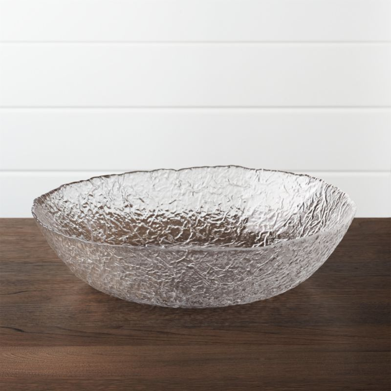 Organic shape and texture reminiscent of ice sculpture makes this Italian-crafted bowl a cool serving alternative.<br /><br /><NEWTAG/><ul><li>Glass</li><li>Dishwasher-safe</li><li>Made in Italy</li></ul>