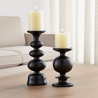 Berit Wood Pillar Candle Holders