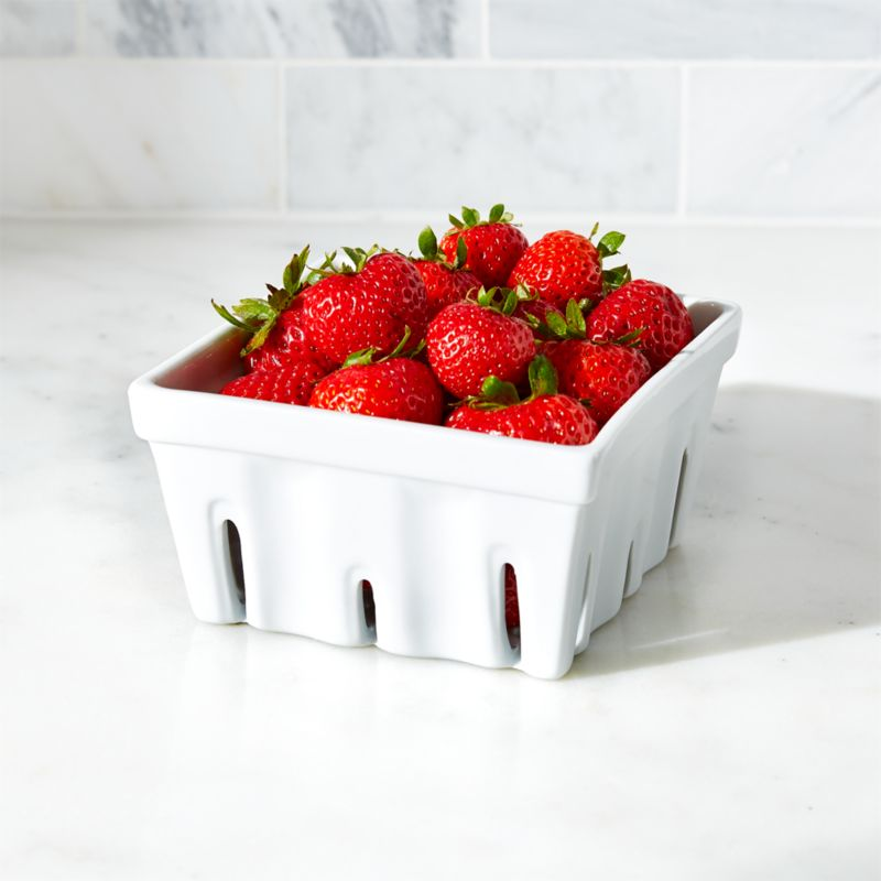 The market-stand berry box is reimagined in white porcelain as a charming, functional kitchen accent.<br /><br /><NEWTAG/><ul><li>Porcelain</li><li>Dip glazed</li><li>Dishwasher-, microwave-, oven- and freezer-safe</li><li>Made in China</li></ul>