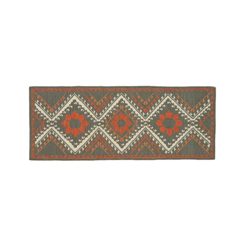 Bessie wool kilim 2 5 39 x7 39 rug runner crate and barrel for Sideboard x7