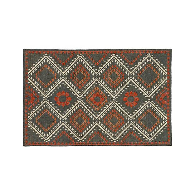 Bessie Charcoal Wool Dhurrie 5'x8' Rug
