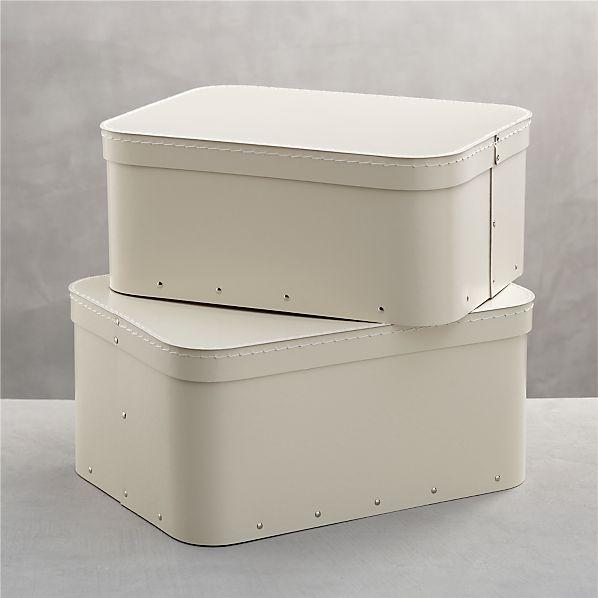 Set of 2 Bigso ® Ivory Rectangular Storage Boxes