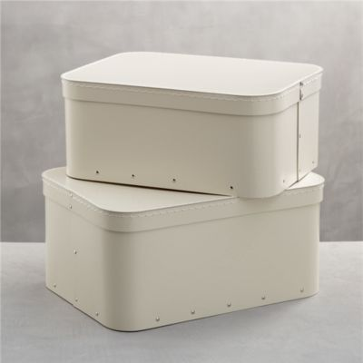 Set of 2 Bigso® Ivory Rectangular Storage Boxes