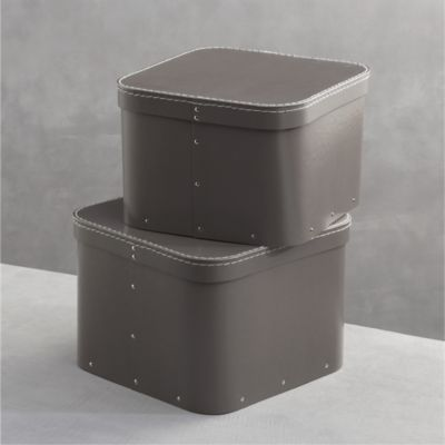 Set of 2 Bigso® Grey Square Storage Boxes
