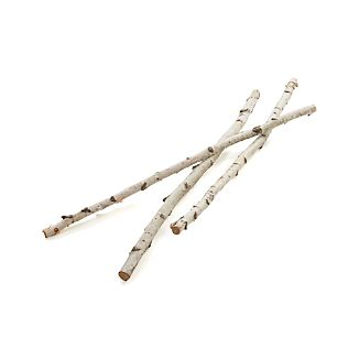 The warm white color and papery bark of natural birch branches adds a rustic, outdoorsy look to wintertime décor, blending equally well with classic and contemporary interiors. Bunch of three branches, gathered in the U.S., comes wrapped in jute and can be used for years to come.This item is not available for shipping to Florida.