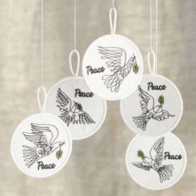 Set of 5 Bird of Peace Patch Ornaments