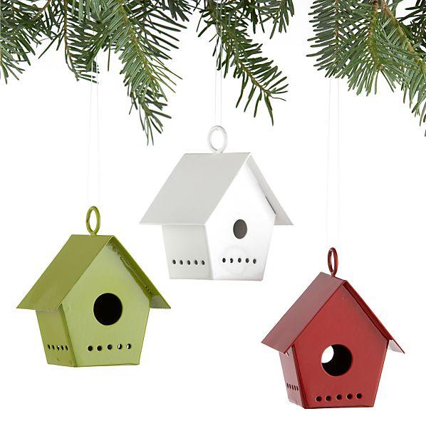 Set of 3 Birdhouse Ornaments