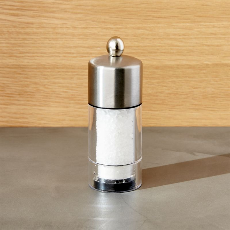 Stylish seasoning for the kitchen or table. Top has a beautiful brushed finish and friendly knob detail.<br /><br /><NEWTAG/><ul><li>Stainless and acrylic</li><li>Adjustable ceramic grinding mechanism</li><li>Made in China</li></ul><br />