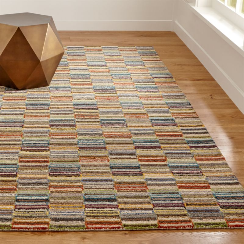 Crate And Barrel Bath Rugs: Bix Striped Wool Rug