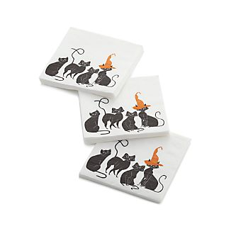 Set of 20 Black Cats Paper Beverage Napkins