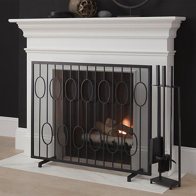 links black fireplace screen crate and barrel. Black Bedroom Furniture Sets. Home Design Ideas