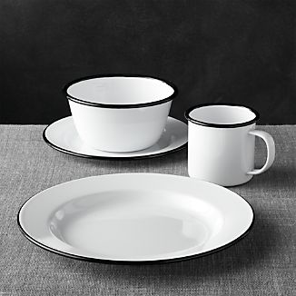 Black Rim Enamelware Dinnerware