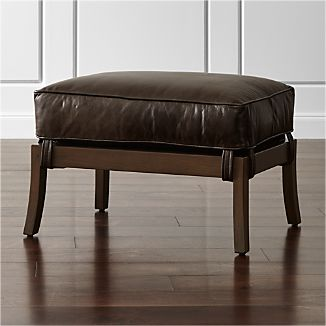 Blake Carbon Grey Ottoman with Leather Cushion