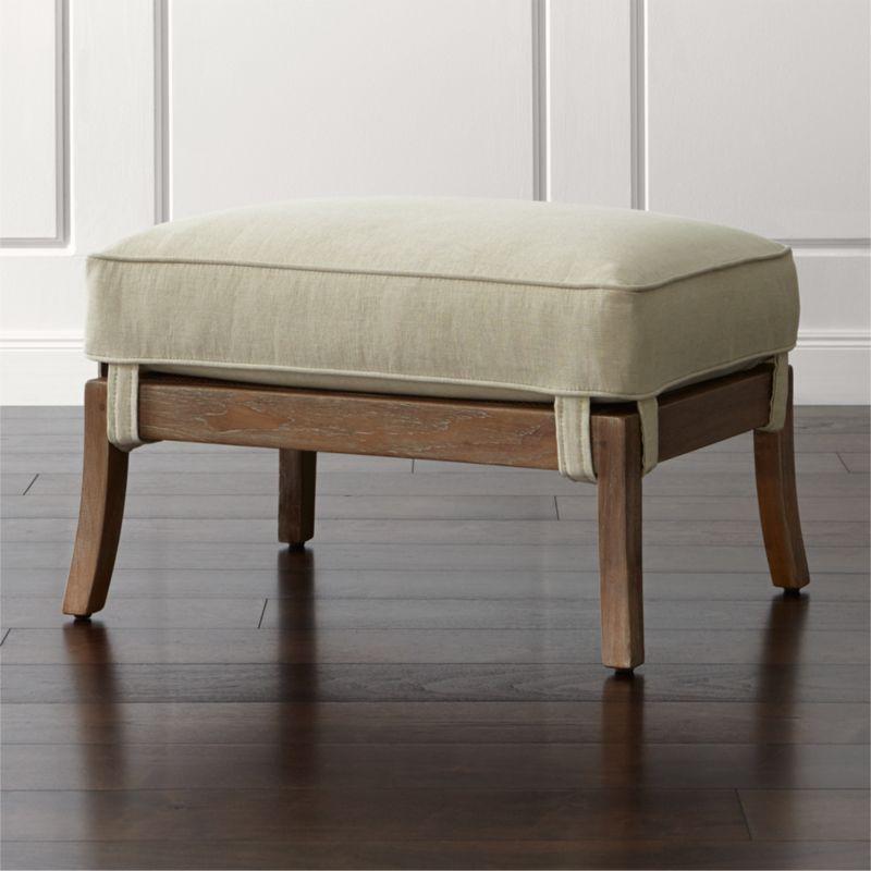 Ottoman Coffee Table Cb2: Blake Grey Wash Ottoman With Fabric Cushion Deso: Sand