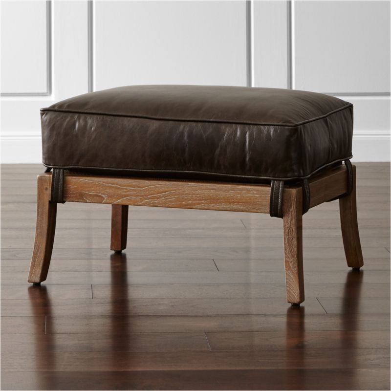 Blake Grey Wash Ottoman with Leather Cushion