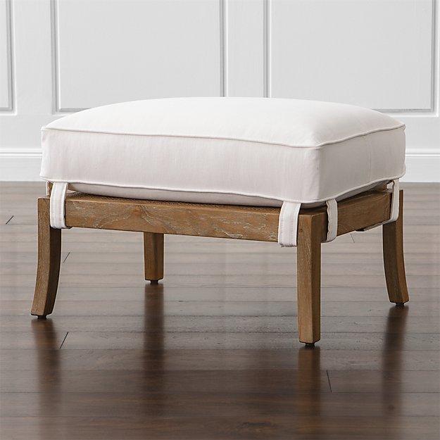 Blake Grey Wash Ottoman with Fabric Cushion