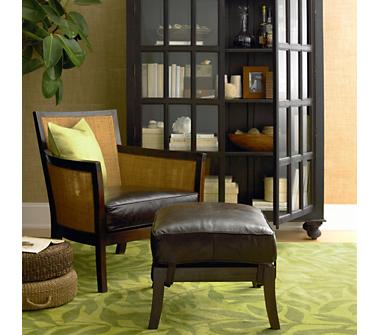 Crate And Barrel Blake Leather Lounge Chair.