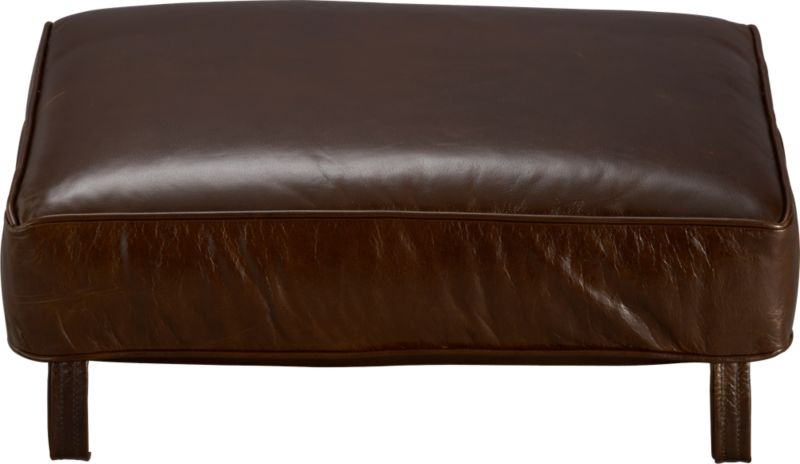 Blake Ottoman cushion is top-grain, full-aniline leather plumped with polyfiber fill wrapped in ticking. Also available in fabric.<br /><br /><NEWTAG/><ul><li>Top-grain, full-aniline leather</li><li>Polyfiber cushion wrapped in ticking</li><li>Made in North Carolina, USA of domestic and imported materials</li></ul>
