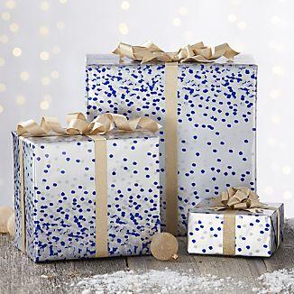 Blue Confetti Silver Gift Wrap