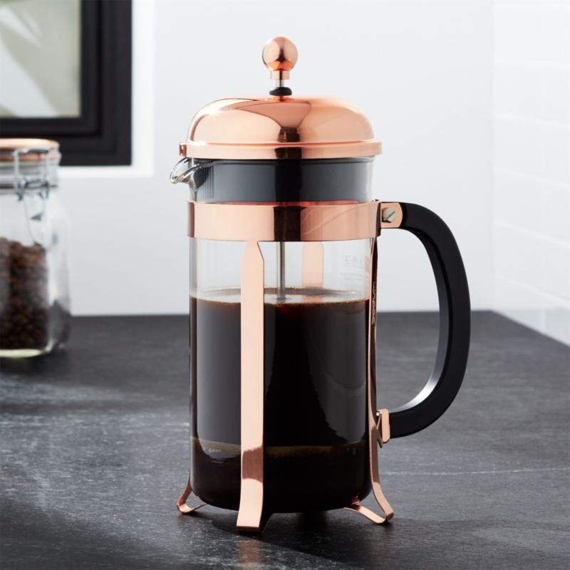 bodum chambord copper 34 ounce french press crate and barrel. Black Bedroom Furniture Sets. Home Design Ideas