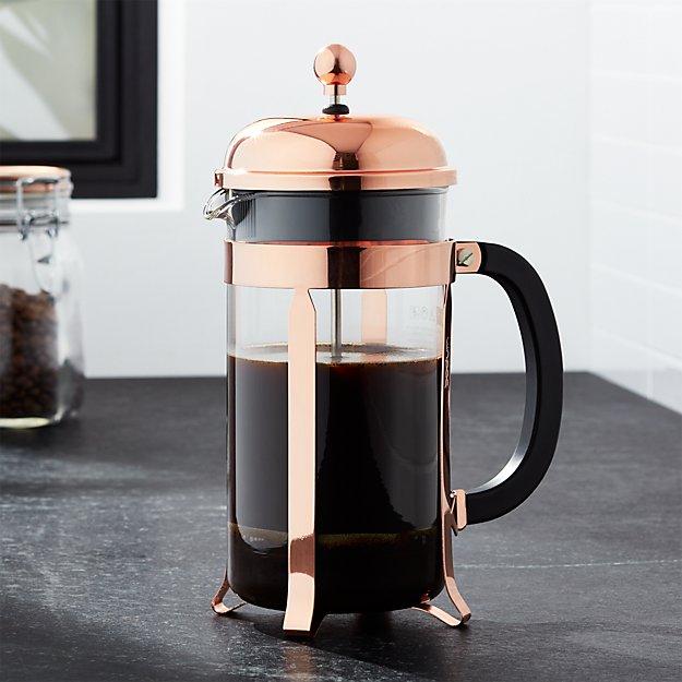 bodum chambord copper 34 ounce french press crate and barrel. Black Bedroom Furniture Sets. Home Design Ideas