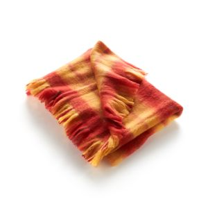 Bold Orange Plaid Throw
