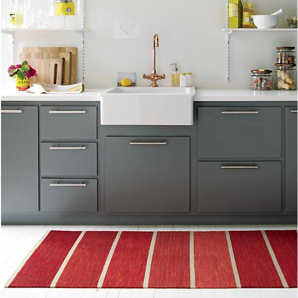 Bold Red Striped Wool-Blend Dhurrie 2.5'x7' Rug Runner