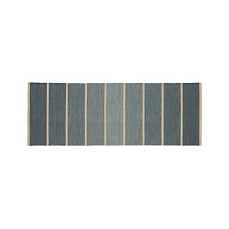 Bold Blue Striped Wool-Blend Dhurrie 2.5'x7' Rug Runner