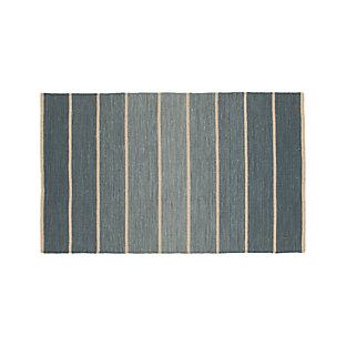 Bold Blue Striped Wool Blend Dhurrie 12 Quot Sq Rug Swatch