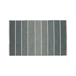 Bold Blue Striped Wool-Blend Dhurrie 3'x5' Rug