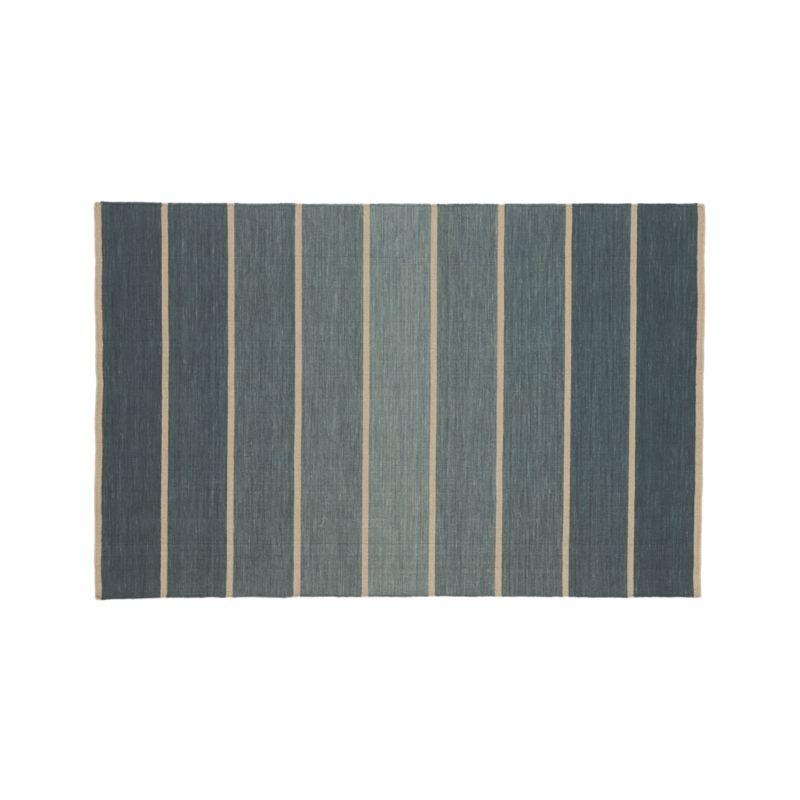 Bold Blue Striped Wool-Blend Dhurrie 5'x8' Rug