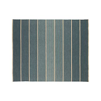 Bold Blue Striped Wool-Blend Dhurrie 8'x10' Rug