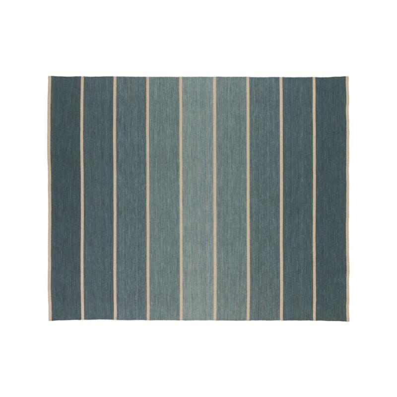 Bold Blue Striped Wool-Blend Dhurrie 8'x10' Rug