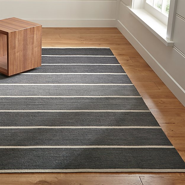 Bold Graphite Grey Striped Wool Blend Dhurrie Rug Crate