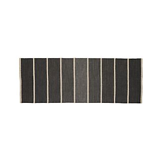 Bold Graphite Grey Striped Wool-Blend Dhurrie 2.5'x7' Rug Runner
