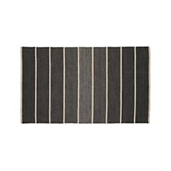 Bold Graphite Grey Striped Wool-Blend Dhurrie 3'x5' Rug