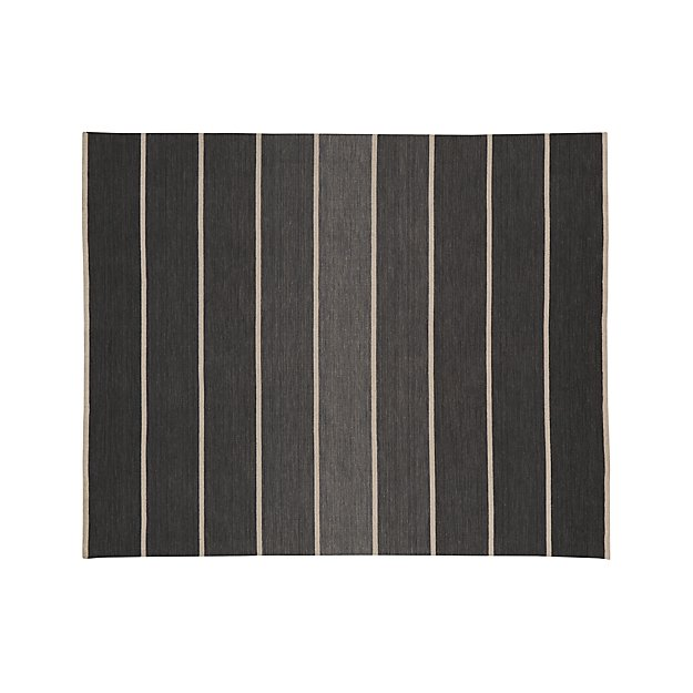 Bold Graphite Grey Striped Wool-Blend Dhurrie 8'x10' Rug