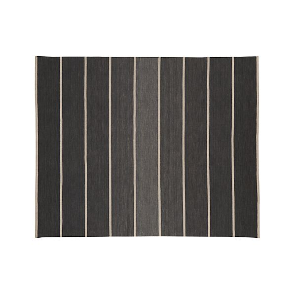 Bold Graphite Grey Striped Wool Blend Dhurrie 8 X10 Rug