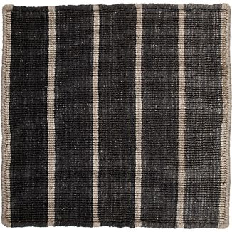 "Bold Graphite Grey Striped Wool-Blend Dhurrie 12"" sq. Rug Swatch"