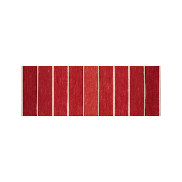Bold Red Striped Wool-Blend Dhurrie 2.5'x7' Rug Runner